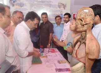 The Minister of State for Human Resource Development, Shri Upendra Kushwaha visiting an exhibition, at the 56th NCERT foundation day celebrations, in New Delhi on September 01, 2016.