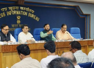 The Union Minister for Human Resource Development, Shri Prakash Javadekar addressing the Press Conference on the 64th meeting of the Central Advisory Board of Education (CABE), in New Delhi on October 25, 2016. The Minister of State for Human Resource Development, Shri Upendra Kushwaha, the Minister of State for Human Resource Development, Dr. Mahendra Nath Pandey and the Director General (M&C), Press Information Bureau, Shri A.P. Frank Noronha are also seen.