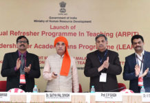 The Minister of State for Human Resource Development and Water Resources, River Development and Ganga Rejuvenation, Dr. Satya Pal Singh launching the Annual Refresher Programme in Teaching (ARPIT), in New Delhi on November 13, 2018. The Secretary, Department of Higher Education, Shri R. Subrahmanyam and other dignitaries are also seen.