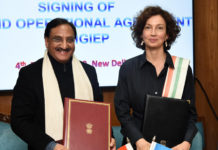 The Union Minister for Human Resource Development, Dr. Ramesh Pokhriyal 'Nishank' and the DG, UNESCO, Ms. Audrey Azoulay signing the second operational agreement of MGIEP, during their meeting, in New Delhi on February 04, 2020.