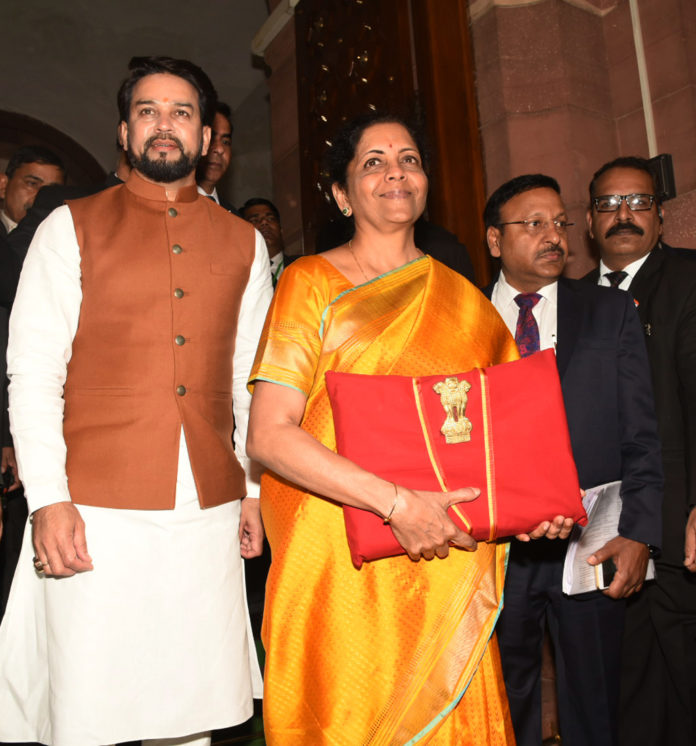 The Union Minister for Finance and Corporate Affairs, Smt. Nirmala Sitharaman along with the Minister of State for Finance and Corporate Affairs, Shri Anurag Singh Thakur arrives at Parliament House to present the General Budget 2020-21, in New Delhi on February 01, 2020.